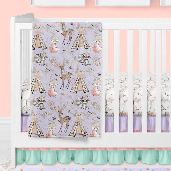 Woodland Boho Bumperless Crib Bedding (3 Pcs: Sheet, Skirt, Minky Blanket) Crib Bedding Modified Tot