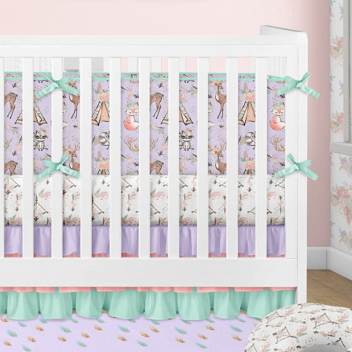 f2bb65c2212d0 Woodland Boho Crib Bedding (3 Pcs: Bumpers, Sheet, Skirt)