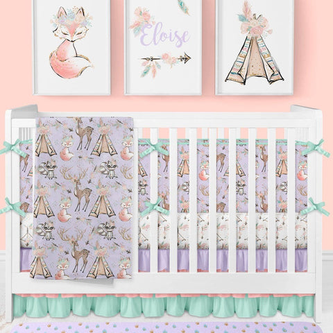 Woodland Boho Crib Bedding (4 Pcs: Bumpers, Sheet, Skirt, Minky Blanket) Crib Bedding Modified Tot
