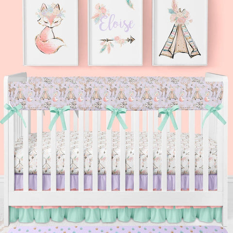 Woodland Boho Rail Guards Crib Bedding (3 Pcs: Rail Guards, Sheet, Skirt) Crib Bedding Modified Tot