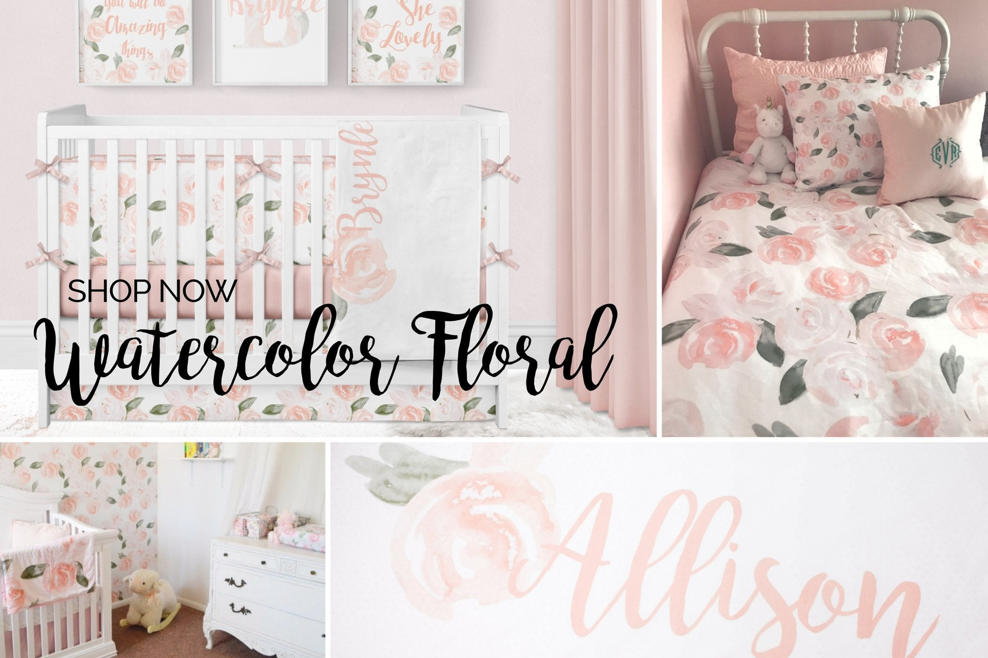 Floral Crib Bedding, Watercolor Floral, Girl Nursery Bedding Set