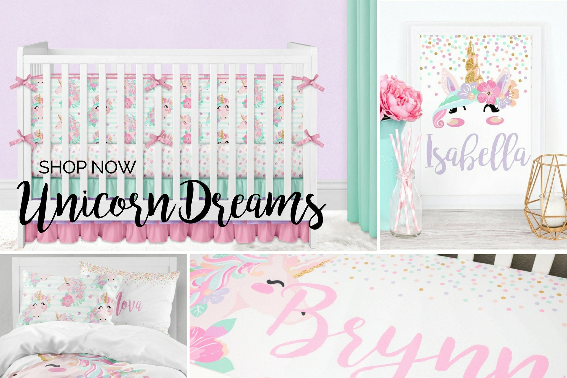 Unicorn Baby Bedding, Unicorn Bedding Set, Girls Room Decor