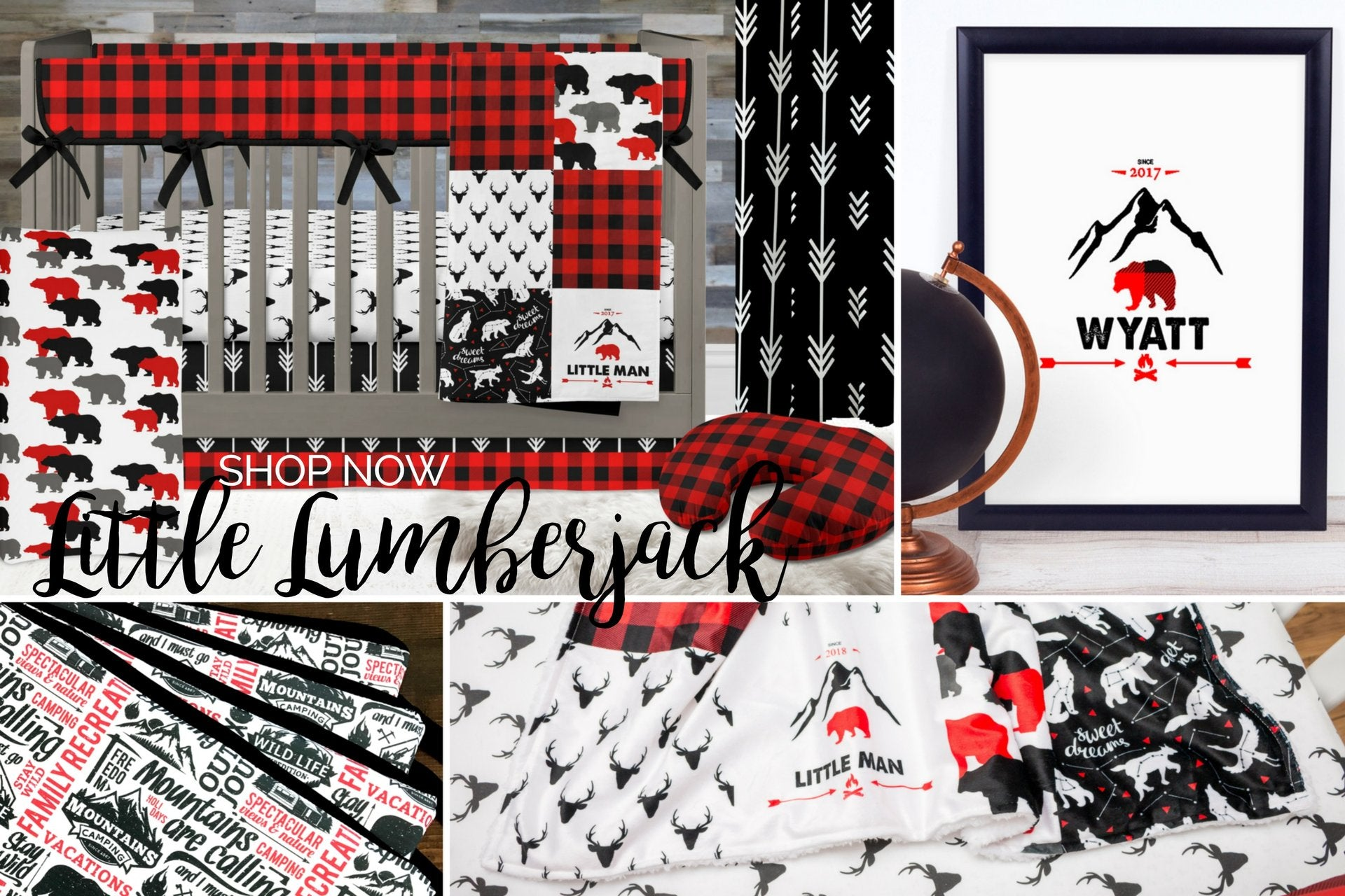 Lumberjack Crib Bedding, Buffalo Plaid Nursery Bedding Set