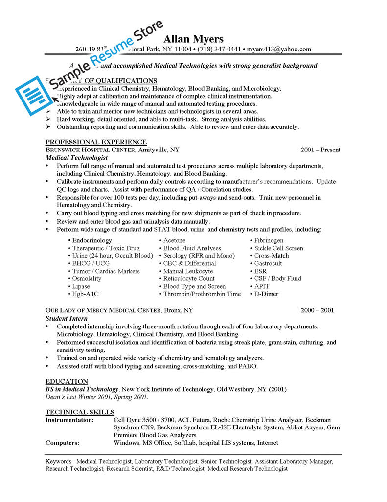 Lab Technician Resume Samples Database