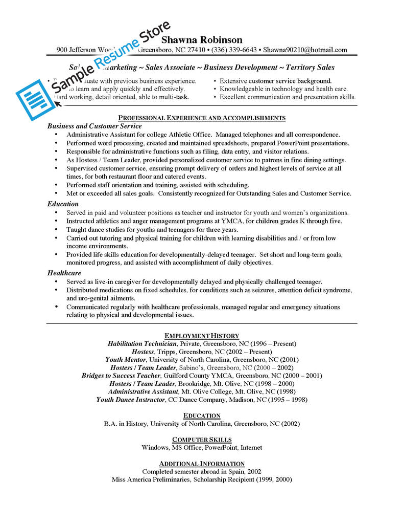 Retail Resume Sample Sales Associate
