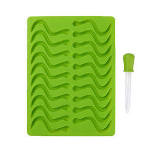 Silicone Gummy Worm Ice Cube Tray with dropper