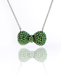 Crystal Bow Necklace-Green