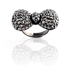 Crystal Bow Ring-Black
