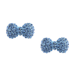 Crystal Bow Earrings-Aqua