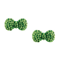 Crystal Bow Earrings-Green