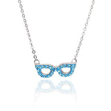 Crystal Bow Necklace-Aqua