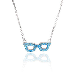 Crystal Glasses Necklace-Aqua