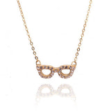 Crystal Wishbone Necklace Gold