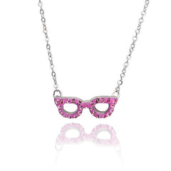 Crystal Glasses Necklace-Fuchsia