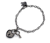 Crystal Key Bracelet Black