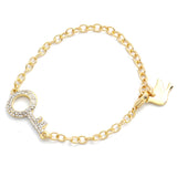 Crystal Lock&Key Bracelet Black