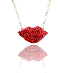 Crystal Lip Necklace-Red
