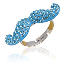 Crystal Mustache Ring-Aqua