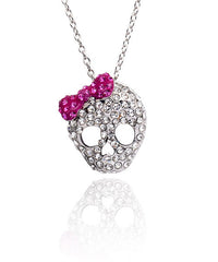 Crystal Skull with Bow Necklace