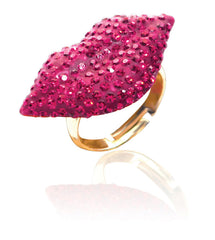 Crystal Lip Ring-Fuchsia