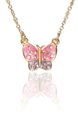 Crystal Adorned Enamel Butterfly Pendant Necklace