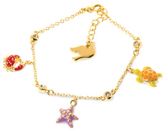 Under the Sea Enamel Turtle, Crab and Starfish Bracelet