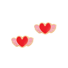 Cutie Enamel Studs Angel Heart