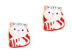 Cutie Enamel Studs Kitty Pop