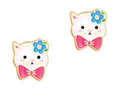 Cutie Enamel Studs Kitty Bloom