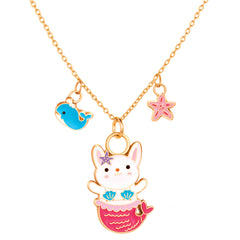 Charming Whimsy Necklace Rabbit Mermaid