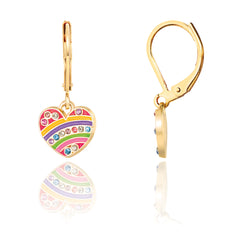 Crystal Rainbow Heart Earrings