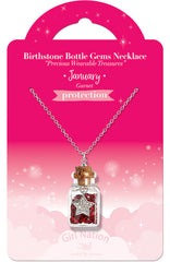 Birthstone Bottle Gem Necklace January