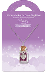 Birthstone Bottle Gem Necklace February