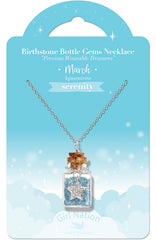 Birthstone Bottle Gem Necklace March