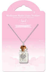 Birthstone Bottle Gem Necklace April