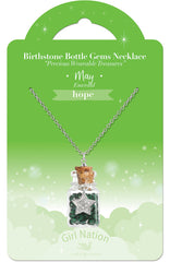 Birthstone Bottle Gem Necklace May