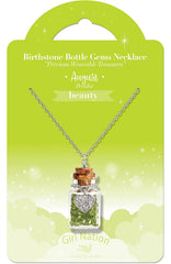 Birthstone Bottle Gem Necklace August