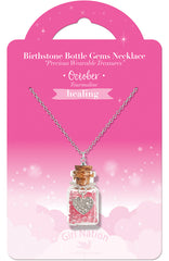 Birthstone Bottle Gem Necklace October