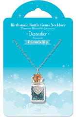 Birthstone Bottle Gem Necklace December