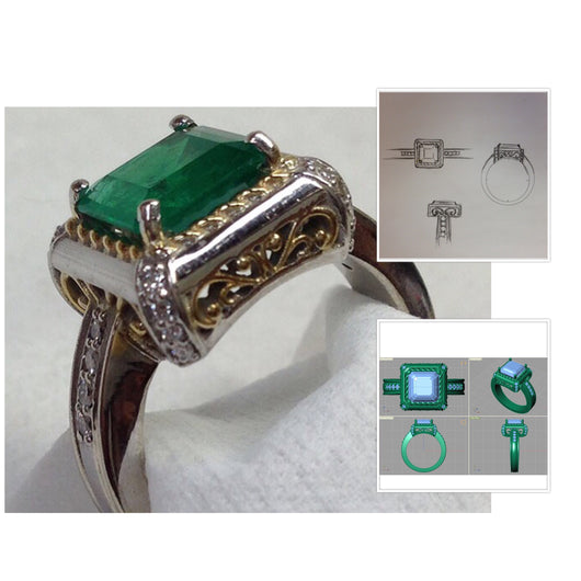 Custom 2tone 14kt Emerald & Diamond Ring