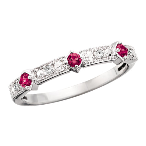 10 Karat White Gold Ruby & Diamond Stackable Band - Victoria's Jewelry