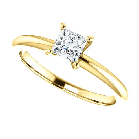 14 Karat Yellow Gold Princess Cut Diamond Solitaire Engagement Ring - Victoria's Jewelry