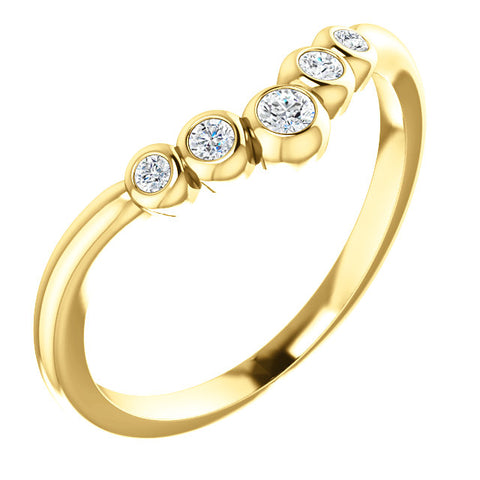 "14 Karat Gold 1/8 CTW Diamond Bezel-Set Graduated ""V"" Ring - Victoria's Jewelry"