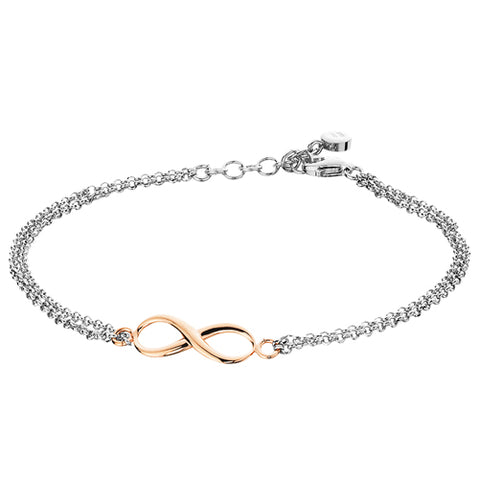 Sterling Silver with Rose Gold Overlay Infinity Bracelet