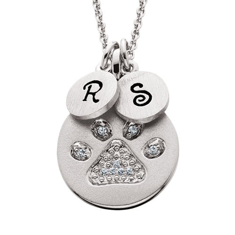 Sterling Silver Mommy Chic Swarovski Crystal Paw Print Necklace