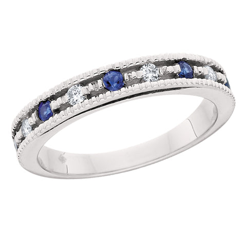 10 Karat White Gold Sapphire & Diamond Stackable Band - Victoria's Jewelry