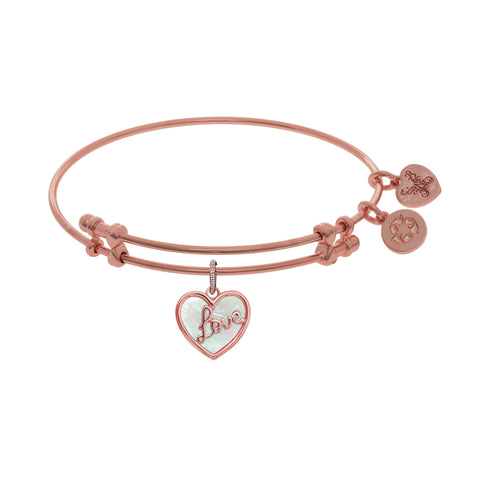 "Angelica ""Love"" Heart Charm with Created Mother Of Pearl  Bangle - Oak Ridge Jewelers"
