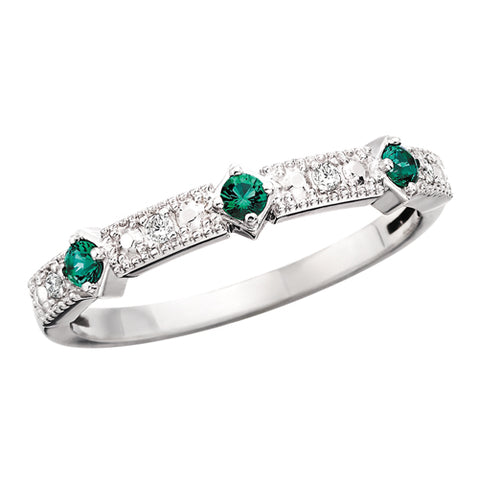 10 Karat White Gold Emerald & Diamond Stackable Band - Victoria's Jewelry