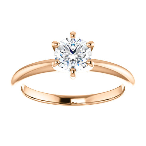 14 Karat Rose Gold Round Brilliant Diamond Solitaire Engagement Ring - Victoria's Jewelry