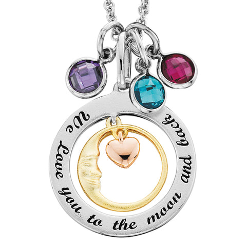 Sterling Silver Mommy Chic We Love You To The Moon & Back Necklace - Victoria's Jewelry